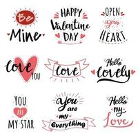 Valentine's Day Hand Lettered Text Set