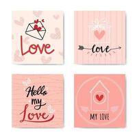 Happy Valentine's Day Hand Lettered Background Set