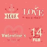 Valentine's Day Typography Message Set on Pink