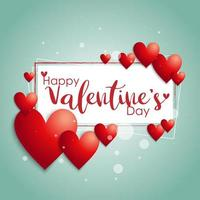 ''Happy Valentine's Day'' Text Frame with Hearts