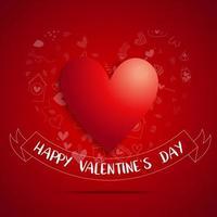 ''Happy Valentine's Day'' Banner Under Big Red Heart vector