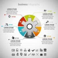 Business Inforgraphic with Colorful Gear Shape vector