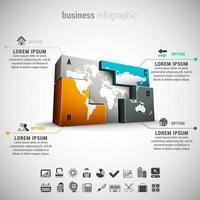 Infografía de negocios con formas de bloque global vector
