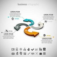 Infografía de negocios con flechas curvas vector