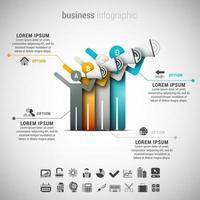 quattro persone che annunciano infografica aziendale vettore