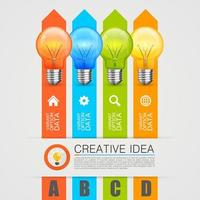 Colorful Business Lightbulbs and Arrows Infographic