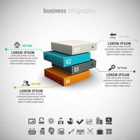 3D Business Infographic with Four Steps