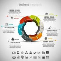 círculos de negocios de flechas infografía 3d vector