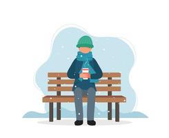 homme assis sur un banc en hiver avec du café vecteur