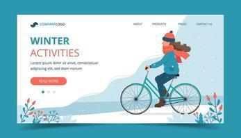 Girl riding bike dans le parc en hiver landing page vecteur