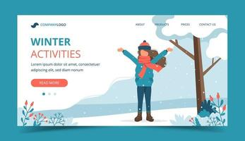 Girl playing in park in winter landing page vector