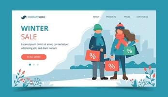 Couple with sales bags in winter landing page vector