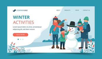 Father holding son and family making snowman landing page vector