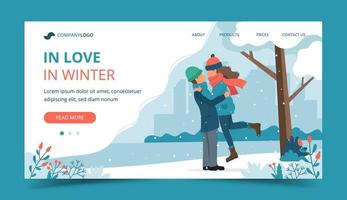 Loving couple in winter landing page vector