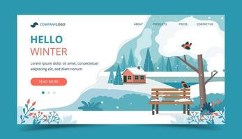 Hello winter, landscape with bench landing page vector