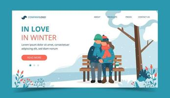 Couple on bench in in winter landing page vector