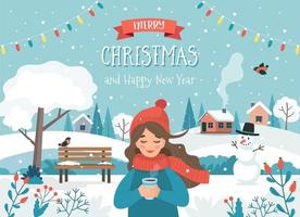 Merry Christmas card with girl and winter landscape