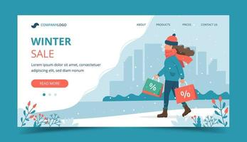 Woman with sales bags in winter landing page vector