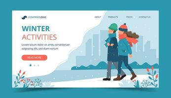 Couple walking in winter landing page vector