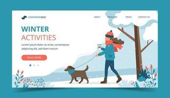 mulher passeando com cachorro na página inicial de inverno vetor