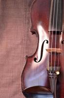 Antique violin closeup against gray fabric background vertical photo