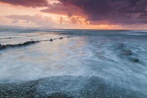 Atardecer en la playa de Barrika. Vizcaya. Pais Vasco. España. photo