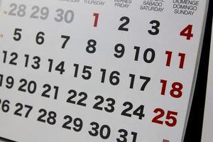 primer plano del calendario