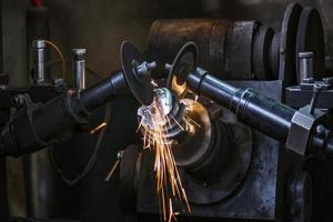 metal sawing close up