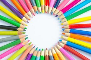 Abstract blur background. Different colored pencils in a formati photo
