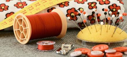 Sewing stuff close up photo