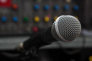 Close up of microphone photo