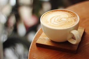 close up hot latte photo