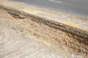 Close up road repair photo