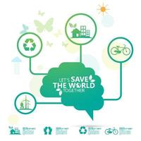 Green Let's Save the World Eco Poster