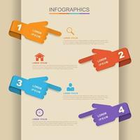 Colorful Business Infographic with Hand Symbols