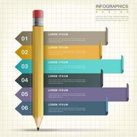 Colorful Six Step Process Pencil Infographic