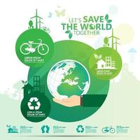 Green ''Let's Save the World Together'' Business Infographic