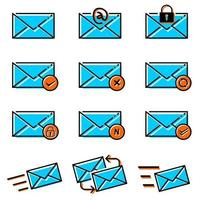 Email Letter Icons Set vector