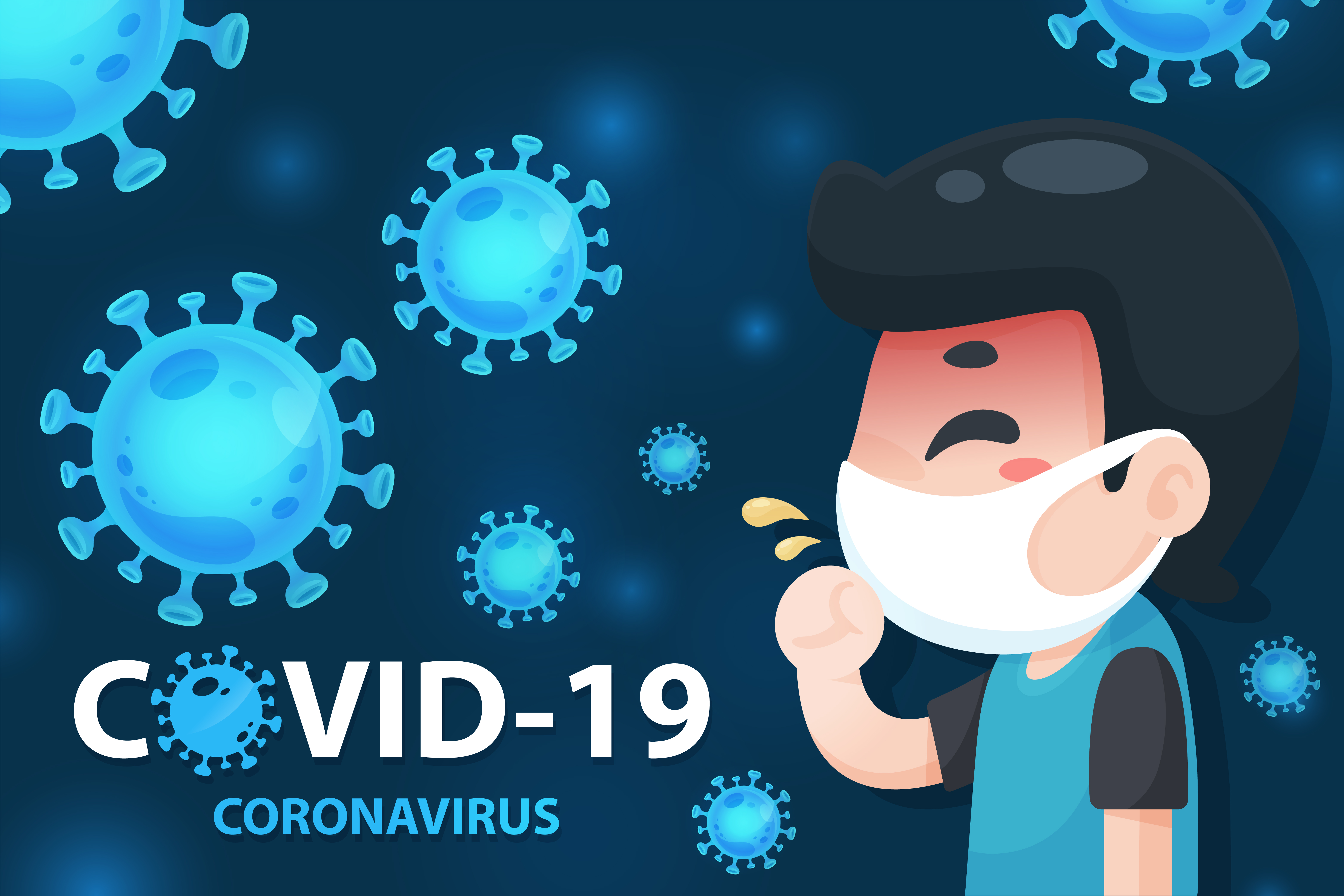 Covid 19 Poster With Sick Cartoon Man Download Free