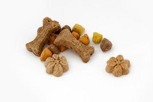 Isolated assorted dog biscuits