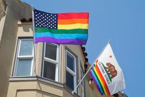 Flags in Castro, gay neighborhood of San Francisco