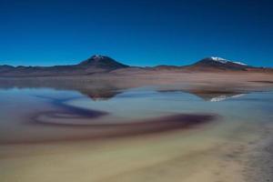 lago salado con montañas reflejo en el fondo