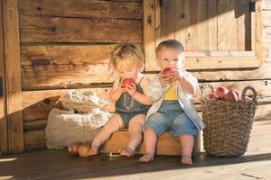 Baby girl and boy sitting and eating apples photo