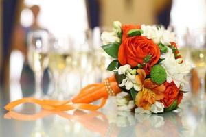 tableware, glass beakers in the restaurant photo