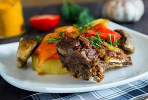 Braised lamb ribs with vegetables photo