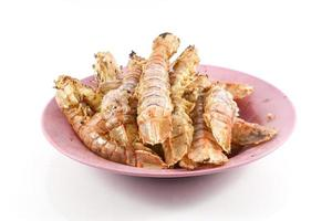 Fried Mantis shrimp with garlic and pepper on white background