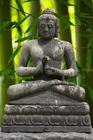 estátua de Buda cinza com fundo de bambu