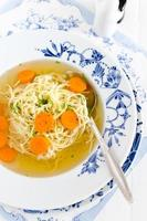 Chicken and duck broth with noodles and carrot photo