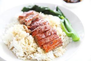 pato asado sobre arroz