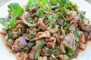 spicy minced chicken salad (larb, thai food) photo